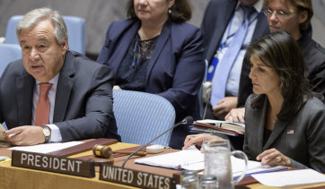 UN Secretary-General António Guterres speaks at a Security Council meeting on September 10. The United States' UN Ambassador Nikki Haley is pictured on the right.