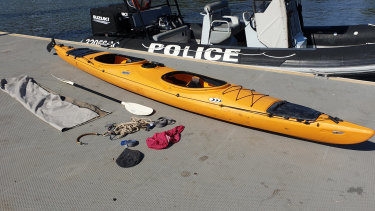 "The orange two-seater ""Prijon"" kayak found on the Milton stretch of the Brisbane River."