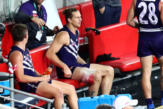 Nat Fyfe is set for a stint on the sidelines with a hamsting injury.