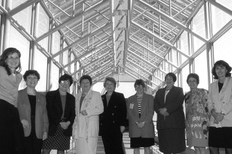 Labor women at the launch of Emily's List at Parliament House in 1996.  Members support ensuring equal opportunities and conditions for women.