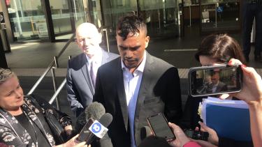 Sydney Stack speaks outside Perth Magistrates Court on Thursday.