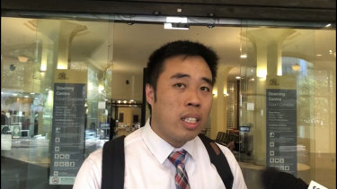 Justin Ly outside the Downing Centre Local Court after pleading guilty to professionally facilitated fraudulent activity at a Sydney casino.