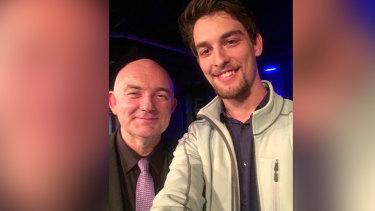 Matthew Harkins (right) with Australian jazz musician James Morrison in 2016.