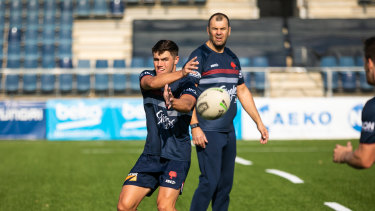 Cheika keeps a close eye on Roosters training in Barcelona as the premiers prepared for the World Club Challenge.