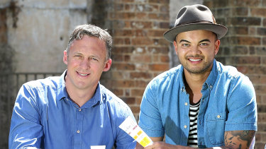 Guy Sebastian and his former manager Titus Day (left).