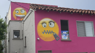 Painted emoji are seen on a house in Manhattan Beach, California.