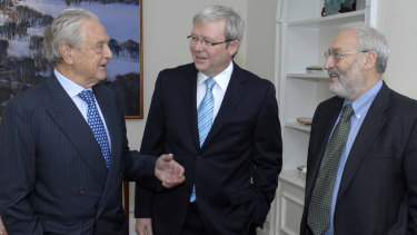Stiglitz (at right)at the UN in New York with former PM Kevin Rudd and Hungarian-American financier and philanthropist George Soros.