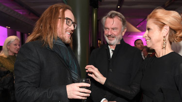 Friends and colleagues: Tim Minchin, Sam Neill and Heather Mitchell at the Sydney Film Festival 2019 Opening Night party.