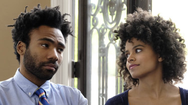 Donald Glover as Earnest Marks, left, and Zazie Beetz as Van in a scene from the award-winning series Atlanta.