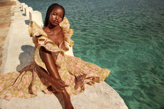 Adut Akech stars in in Zimmermann's resort 2020 campaign.