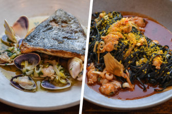 Blue eye cod, caramelised leek, pippies and brown butter, and tagliolini al nero, Cuttlefish from Park Street Pasta and Wine.