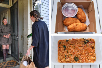 The Recreation delivers wine, croquettes (top right) and prawn risotto (bottom right) to Myf Warhurst's door.