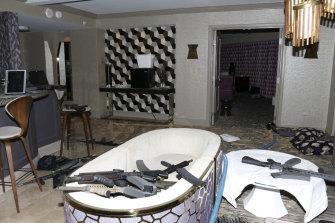 The interior of Las Vegas shooter Stephen Paddock's 32nd floor room of the Mandalay Bay hotel.