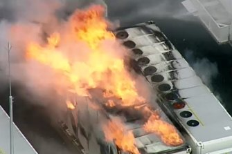 Emergency services are warning of toxic smoke after a fire erupted at Victoria's new Tesla Big Battery on Friday.