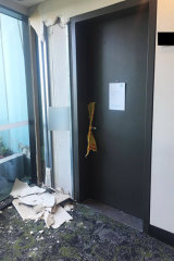 One of the structural cracks at the Opal Tower in Sydney's Olympic Park.