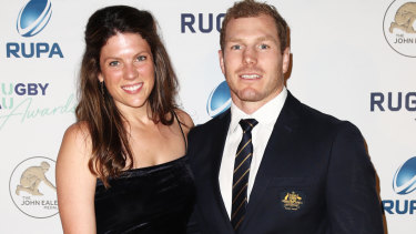 No contest: Emma Pocock and David Pocock at the 2018 Rugby Australia Awards ceremony at Randwick Racecourse.