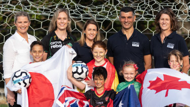 Leisel Jones, Holly Ferling, Heather Garriock, John Aloisi and Cheryl Salsibury and kids at an Optus Sports FIFA Women's World Cup event at North Sydney Oval.