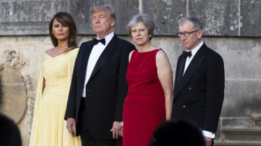 First lady Melania Trump, President Donald Trump, British Prime Minister Theresa May, and her husband Philip May at Blenheim Palace in London in 2018.