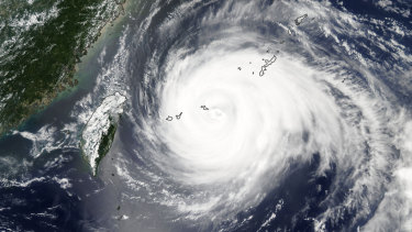 Typhoon Mariaheading to Taiwan on Tuesday.