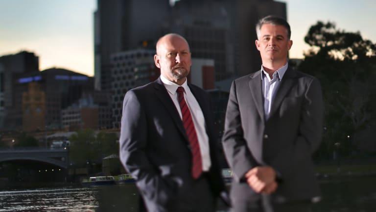 Corruption whistleblowers, Brian Hood [left] and James Shelton.