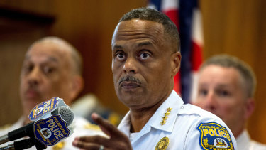 Philadelphia Police Commissioner Richard Ross holds a news conference.