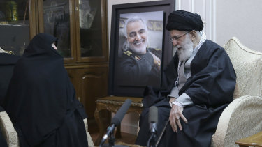 Supreme Leader Ayatollah Ali Khamenei, right, meets family of Iranian Qassem Soleimani, who was killed in the US air strike in Iraq.