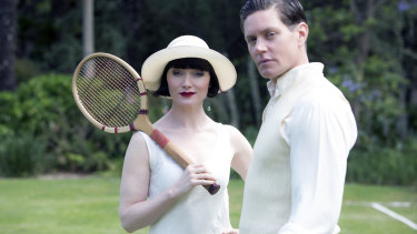 Davis with Nathan Page, who plays her love interest Detective Jack Robinson,  in a scene from Miss Fisher's Murder Mysteries.