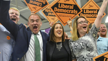 "Liberal Democrats' Jane Dodds, centre, used her byelection victory speech to urge Boris Johnson to ""stop playing with the future of our communities and rule out a no-deal Brexit now""."