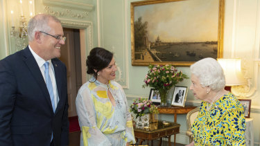 Queen Elizabeth II, Prime Minister Scott Morrison and his wife Jenny during a private audience at Buckingham Palace in 2019.