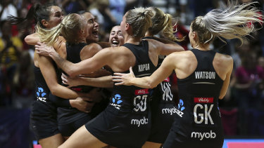 One-goal win: Jubilation for the Silver Ferns after the final whistle.