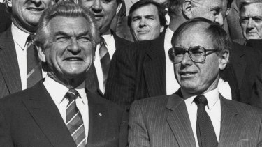 Bob Hawke and John Howard, pictured in 1988.