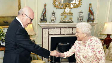 High Commissioner George Brandis meets the Queen in May last year.