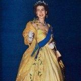 Queen Elizabeth II in Sydney wearing her wattle gown in 1954.