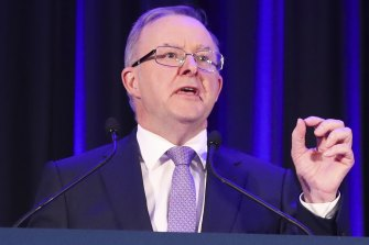 Opposition Leader Anthony Albanese during the Minerals Week luncheon at the Hyatt Hotel in Canberra.