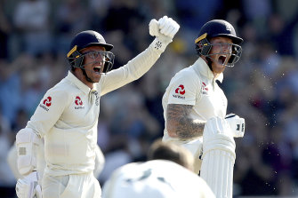 Jack Leach and Ben Stokes celebrate an incredible victory.