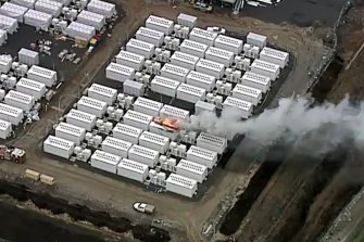 Smoke billows from a fire at Victoria's new Tesla Big Battery on Friday.