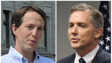 Arkansas Congressional candidates, Democrat Clarke Tucker, left, and Republican U.S. Representative French Hill. Tucker. Both condemned a political action committee's radio ad that suggests white Democrats will lynch black Americans if they win the midterm election next month.