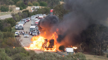 The truck caught fire on the Hume Highway near Yass.