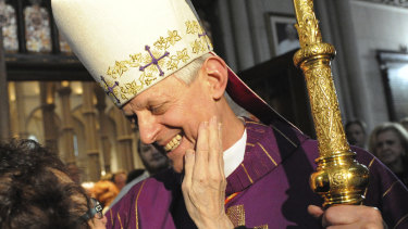 Cardinal Donald Wuerl, the Archbishop of Washington, greets a woman after giving a Mass of Thanksgiving at St Paul Cathedral in Oakland, Pittsburgh in 2010.