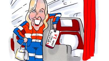 Australia Post chief Christine Holgate traveled in seat 1A to Melbourne on Monday. Illustration: Matt Golding