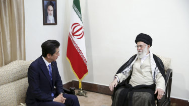 Japanese Prime Minister Shinzo Abe, left,  meets with Iran's Supreme Leader Ayatollah Ali Khamenei, on Thursday.