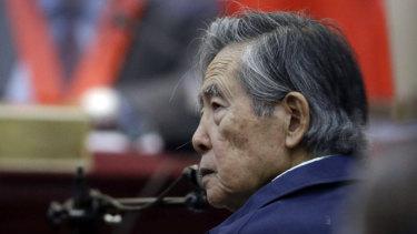 Peru's former president Alberto Fujimori in court in March.