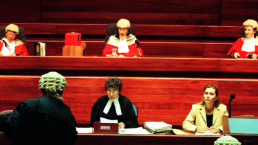 Left to right: Justices Carolyn Simpson, Margaret Beazley and Virginia Bell sitting as the Court of Criminal Appeal on the first all-female bench in 1999.