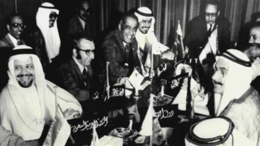October 1973: a meeting of Arab oil ministers in Kuwait decides on an oil embargo against Israel's military backers. Saudi oil minister Ahmed Zaki Yamani is on the far left.