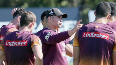 Getting it right: Anthony Seibold addresses the Broncos during a training session in Brisbane on Tuesday.