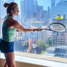 Belarusian tennis player Aryna Sabalenka practises in hotel quarantine at the Grand Hyatt in Melbourne.
