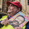 Big Issue seller Glenn on his old beat at the corner of Market St, Sydney, on Monday
