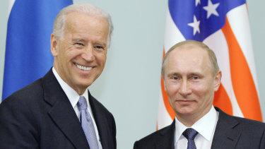 Joe Biden, and Vladimir Putin in Moscow, Russia in 2011.