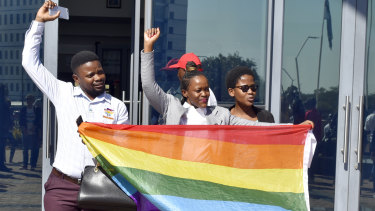 Activists celebrate outside the High Court in Gaborone, Botswana, after the country became the latest country to decriminalise gay sex.