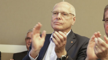 Outgoing Liberal senator Jim Molan at a Coalition party room meeting in Canberra on Tuesday.